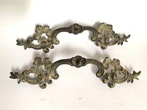 "Keeler Brass French Provincial Antique Drawer Pulls K377 Lot of 2 - 3 1/8"" mount"
