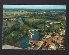 SAINT-SEURIN-sur-ISLE (33) VILLAS , EGLISE & PONT en vue aérienne 1986