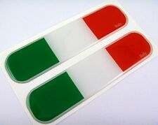 "Italy Italian Flag Domed Decal Emblem Chrome Car Flexible Sticker 5"" Set of 2"