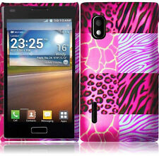For LG Optimus Extreme L40G Rubberized HARD Case Phone Cover Pink Exotic Skins