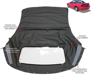 Ford mustang Convertible Soft top With Plastic window Black Sailcloth 1994-2004