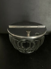 Vintage Glass Sugar Bowl With Hinged Flip Top Lid Gemco Marked On Inside Of Lid