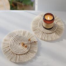 1Pc Cotton Braid Coaster Handmade Macrame Cushion Bohemia Style Non-slip Cup Mat