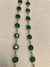 New Listing34� Swarovski Open Back Emerald Green Crystal Gold Tone Necklace