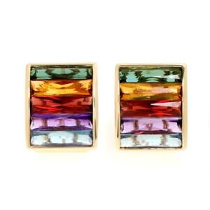 Beautiful Multi color Tourmaline 18k Yellow Gold Wide Curved Post Clip Earrings