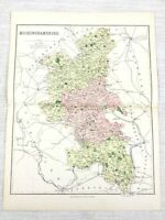 1889 Antique Map of Buckinghamshire Wycombe Aylesbury Uxbridge 19th Century
