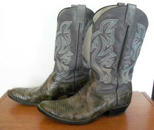 MEN'S GRAY LIZARD AND LEATHER COWBOY BOOTS W 846 SIZE 11.5 D