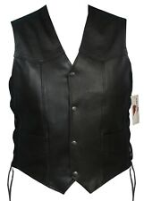 Mens Motorbike Motorcycle Black Leather Vest with Side Laces - 451