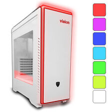 AVP VISION WHITE ATX LIGHTUP USB 3.0 GAMING CASE - 7 COLOUR LED & SIDE WINDOW