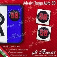 2 Adesivi Stickers bollino 3D Resinato targa Auto Moto 58 SIC Simoncelli Nero