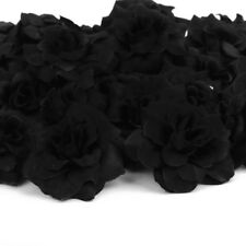 50x Black Roses Artificial Silk Flower Head Lot for Hair Clip Wedding Décor