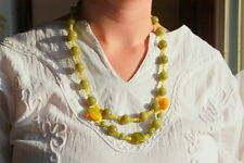 Handmade Drops of Sunshine Glass Bead Necklace Orange Green Yellow