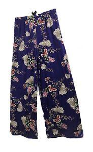 Women Ladies Palazzo Elephant& flower Print& plain Wide Leg Pants Baggy Trousers