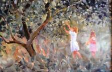 "Leslie W Piedras Aceite moderno paisaje impresionista ""The Apple recolectores"" firmado"