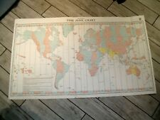 Vintage Admiralty Chart 5006 TIME ZONES - THE WORLD 1984