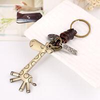 ITS- KQ_ Vintage Cute Giraffe Keychain Cow Leather Handbag Keyring Ring Charm Ke