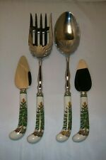 4 Spode Christmas Tree Sheffield England Serving Fork & Spoon & 2 Cheese Knives