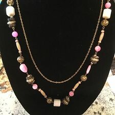 Chicos Necklace in Various Beads And Another Gold tone Chain