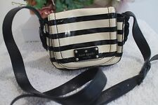 Kate Spade stripe patent leather ivory black small messenger  bag wkru2004 (300