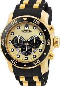 Invicta Mens 24852 Pro Diver Gold,Black Tone 48MM Case Chronograph 100M WR Watch