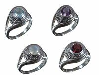 Handmade 925 Solid Sterling Silver Ring Natural Multi Gemstone US Size R003