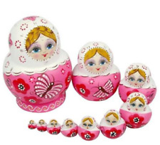 10Pcs Russian Matryoshka Wood Nesting Dolls Pink Hand Paint Gift Room Desk Decor