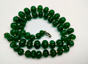 335 Cts 18 MM Natural Green Emerald Pumpkin Round Carved Cut Gemstone Necklace