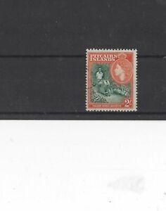 PITCAIRN ISLANDS , 1957, SG27 TYPE 12 2s GREEN AND ORANGE, MH  CV £28.00+