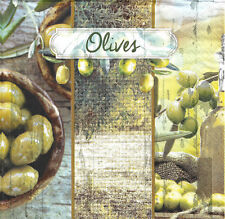 Lot de 4 Serviettes en papier Jardin Olives Decoupages Collage Decopatch
