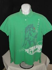 Polo Ralph Lauren Distressed Green Wild Horse Print S/S Polo Shirt L Custom Fit