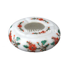 "Beautiful Handcrafted work by Semi Precious stones 4"" White Marble Ashtray"