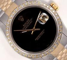 Rolex Datejust Two Tone S/Steel Gold 18k Diamond Bezel Onyx Dial 36mm Watch-2WTY