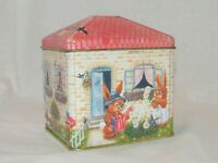 Vintage Meister Tin Canister & Lid . Brazil . Easter Spring Floral Bunnies House