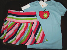 Gymboree Smart and Sweet blue sequin apple top & striped knit skort skirt NWT 8