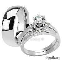 HIS & HERS 3 PIECE SILVER STAINLESS STEEL CZ WEDDING ENGAGEMENT RING BAND SET