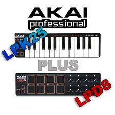 Akai LPK25 25 Key USB Keyboard Controller & Akai PRO LPD8 Midi USB Controller