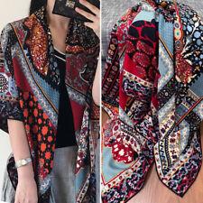70% Cashmere 30% Silk Scarf Vintage Flower Print Big Shawl Stole Bufanda 125cm