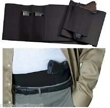 Concealed Carry Black Belly Band Gun Pistol Holster + 2 Mag Pouches MEDIUM WAIST
