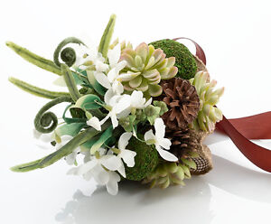 Moss Succulents and Pine Cone Rustic Wedding Bouquet