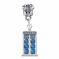 Police Box Blue Enamel Sci-Fi Science Fiction Dangle Charm for European Bracelet