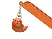 Sea Otter Leather Charm Bookmarker *VANCA* Made in Japan #61311