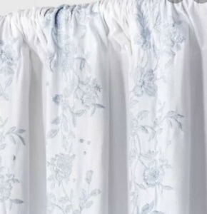 """One Simply Shabby Chic Floral Embroidered Blue Stripe Curtain PaneL 84"""" Nwot"""