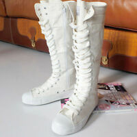 PUNK EMO Girl Shoes Canvas Boots Zip Lace Up White US8.5 Knee High Sneaker Pumps