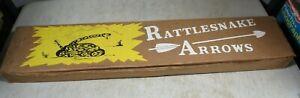 6 Vintage Jay Dee Rattlesnake Wood Archery Arrows W/Box NIB NOS USA