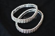 12pcs Fashion Women Chain Clear Zircon Crystal Roman Bangle Rhinestone Bracelet