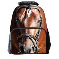 3D Casual Horse School Bag Travel Hiking Outdoor Backpack Men Women Shoulder O