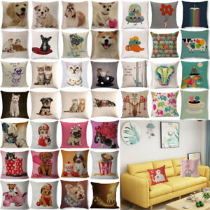 "Animal Art Cat Dog Cotton Linen Cushion Cover Throw Pillow Case Home Decor 18"""