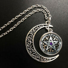 Wiccan black magick Pendant Choker Jewelry Silver Moon Necklace For Women Dres