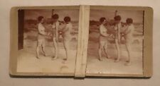 Antique Risque Stereoview, Ladies in Swimwear, Three Heavyweights No.3