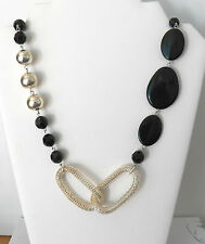 Beads, Silver Beads And Chain Sections Beautiful Necklace In Resin Oval & Round